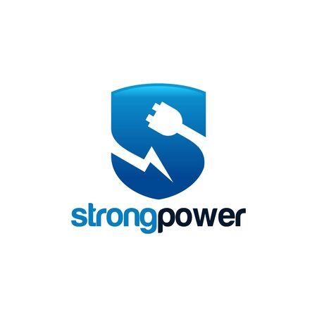 Safe Energy Logo template, Strong Power Logo designs vector illustration Illustration