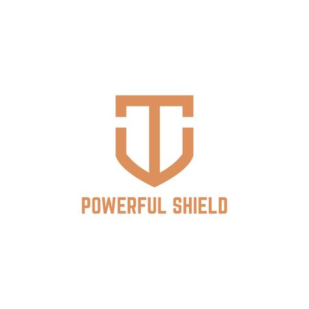 T Initial Logo powerful shield logo template designs