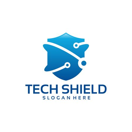 Technology shield logo template, Digital Protection logo designs vector Ilustracja