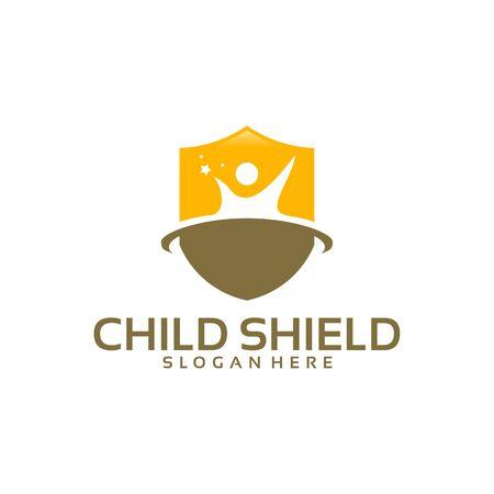 Care logo template, Child Shield logo designs vector