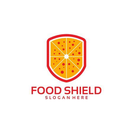 Pizza Shield logo template, Food Shield logo designs vector Illustration