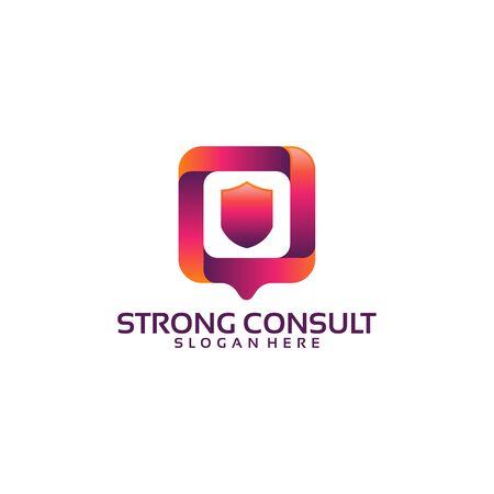 Strong Consult logo template, Shield Consult logo designs vector