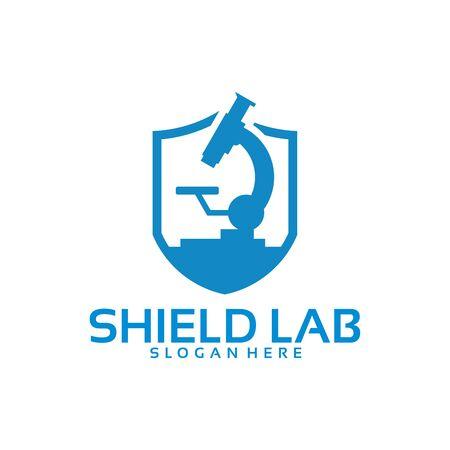 Strong Laboratory logo template, Shield laboratory logo designs vector