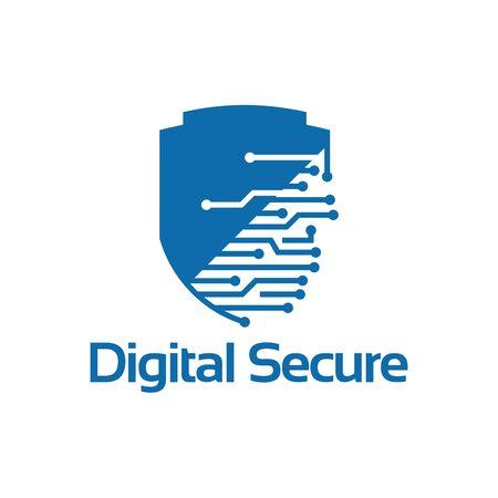 Digital Secure Logo template, Security Technology logo designs vector
