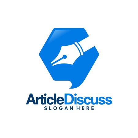 Article Discuss Logo template, Writer Discussion logo designs vector