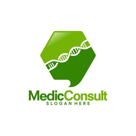 Medical Consult logo template, Helix Research Logo designs vector Illustration