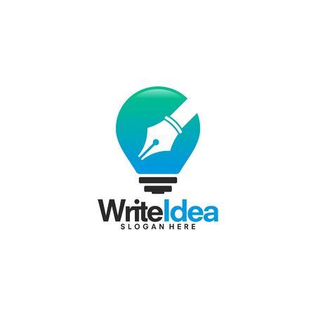 Inspire Writer Logo design, Idea to Write template vector