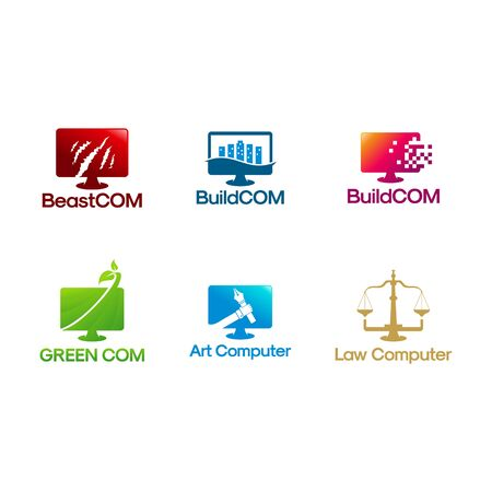 Set of Computer logo designs vector illustration Logo