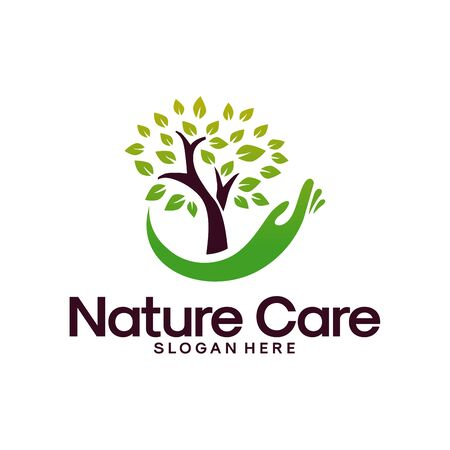 Nature Care logo designs concept vector, Leaf and Water logo symbol