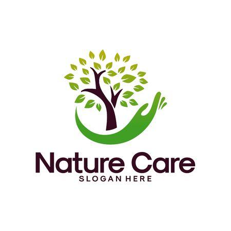 Vector de concepto de diseños de logotipo de Nature Care, símbolo de logotipo de hoja y agua
