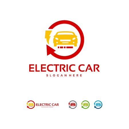 Electric Car logo designs concept vector, Car Technology logo template vector Illustration Ilustração