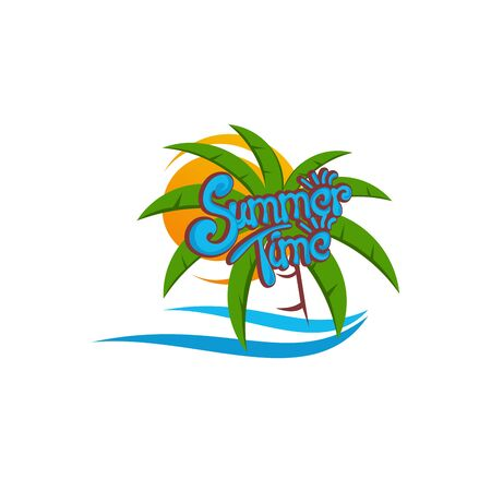 Summer Background, Palm Tree With ocean wave logo template vector, Travel logo template, Beach icon