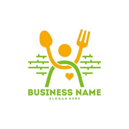 People with Fork and Spoon Logo, Happy Food logo