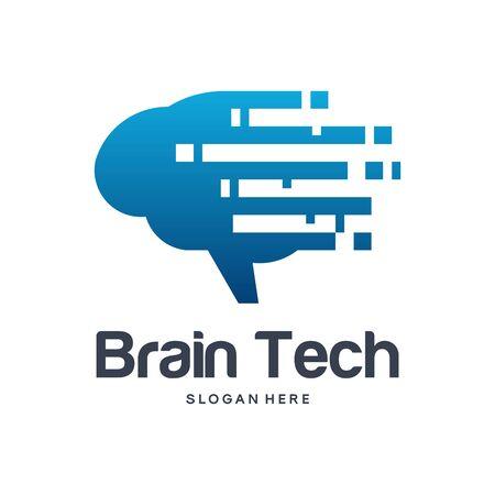 Brain Tech logo designs concept vector, Fast Brain logo, Modern Brain logo