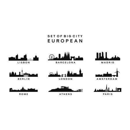 set of Big City European Skyline Silhouette vector template