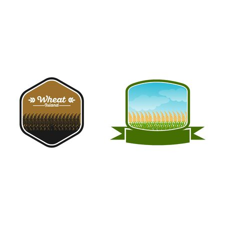Set of Badge Wheat logo designs concept vector