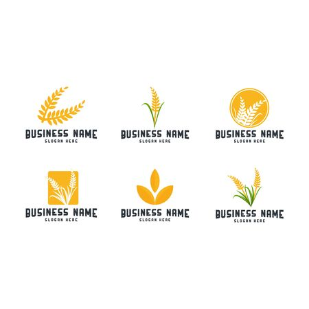 Set of Wheat Iconic Logo designs template vector, Wheat Farm logo template Иллюстрация