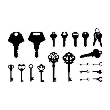 Set Modern and Classic Key Silhouette vector illustration