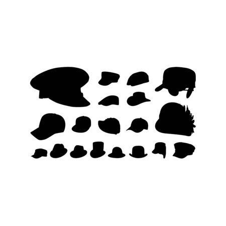 Set of Various Hat Cap Silhouette vector illustration