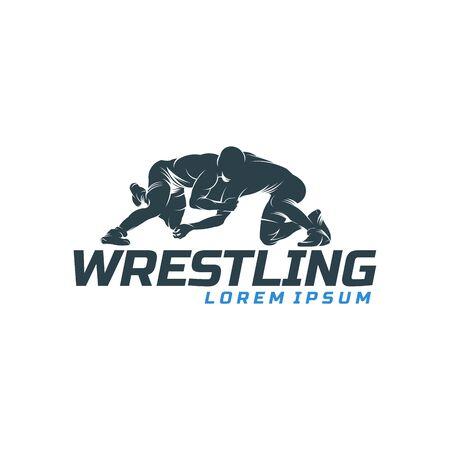 Wrestling logo template, Wrestling Sport Silhouette logo template