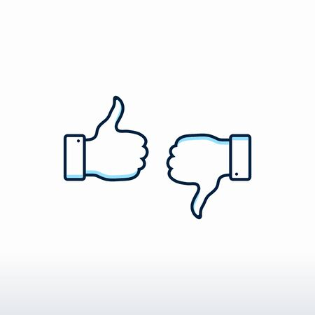 Thumbs up and thumbs down. Vector, Like and Dislike Icon vector Foto de archivo - 140169139