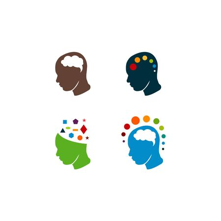 Colorful Head logo designs vector, Creative mind, learning and design icons. Man head, people symbols