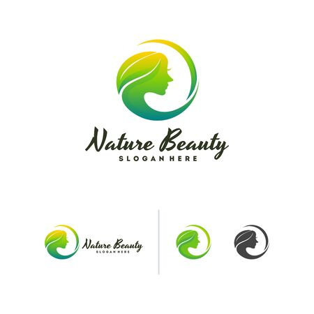 Nature Beauty logo vector, Leaf and Beauty Face logo template vector, Beauty Logo Icon