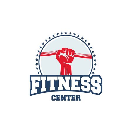 Fitness logo badge with muscle man, Gymnastic logo template vector, Body Build logo badge