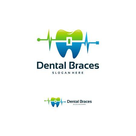 Dental Braces Shop Logo template, Healthy Dental Braces logo vector illustration