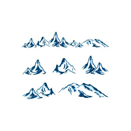 Set of High Mountain logo in modern style, High Mountain logo badge vector
