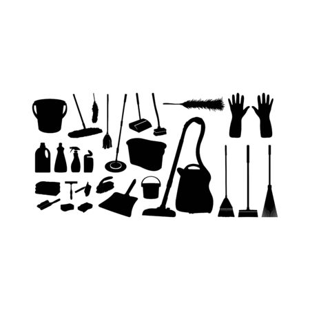 Collection of Various Cleaning Tools silhouette set vector illustration, Cleaning Sanitary Washing Tool Silhouette Collection
