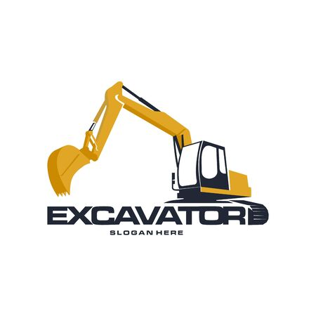 Excavator logo designs concept vector illustration