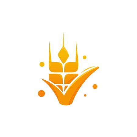 Wheat Grain Shield logo template, Luxury Wheat Agriculture logo designs