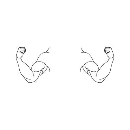 Strong muscular arms vector icon,hand logo