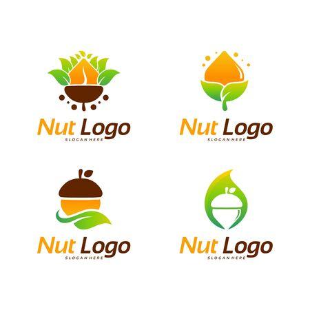 Modern Designs of Nut logo template vector