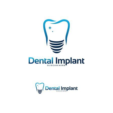 Dental implant logo designs concept vector, Dental Care logo template