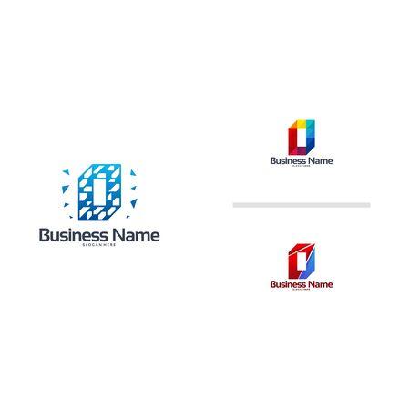 Abstract Modern O Pixel Initial logo designs vector template Ilustração