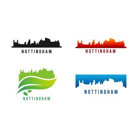 Set of Various Nottingham city Skyline silhouette vector illustration