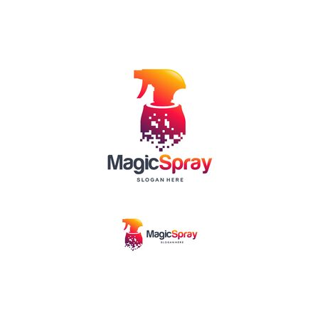 Magic Spray logo designs concept vector, Pixel Cleaning logo template designs 向量圖像
