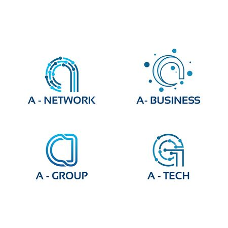 initial Tech logo vector set, Cool Initial Wire logo template vector
