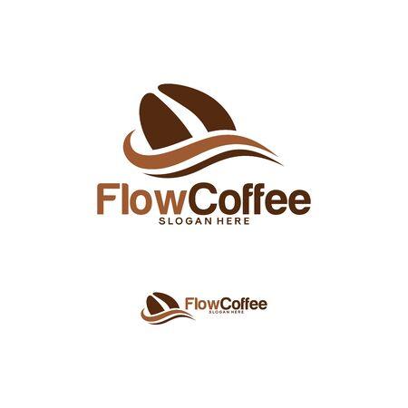 Flow Coffee logo template, Sweet Coffee Logo designs concept, Coffee Drink logo template vector Logo