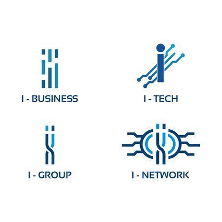 I initial Tech logo vector set, Cool W Initial Wire logo template vector initial Tech logo vector set, Cool I Initial Wire logo template vector Çizim