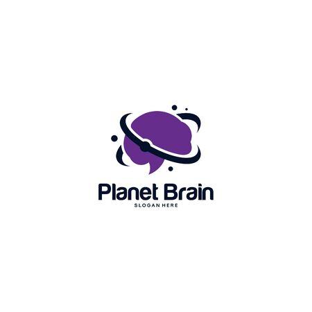 Brain logo designs template, Planet Idea Logo designs concept vector