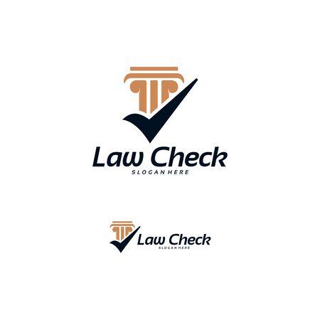 Law Check logo designs concept vector, Pillar Check logo template designs