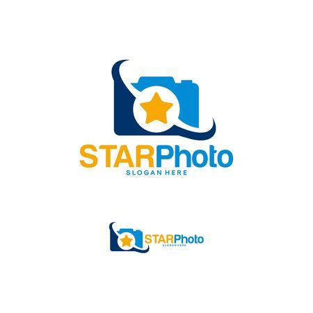 Star Photography logo design concept, Lens Star logo template vector Stock Illustratie