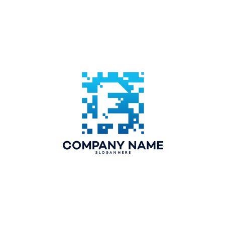 Abstract Modern E Pixel Initial logo designs vector template