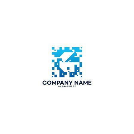 Abstract Modern G Pixel Initial logo designs vector template