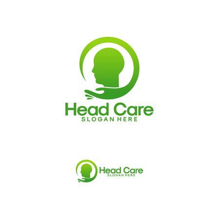 Head Care logo template, Head therapy logo designs vector, Brain care logo designs vector