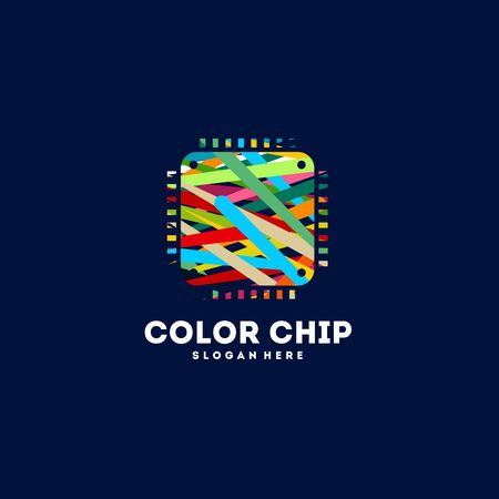 Colorful Chip Logo designs concept vector, Education logo designs concept vector