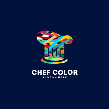 Colorful Chef Hat logo designs concept vector, Food Color logo template